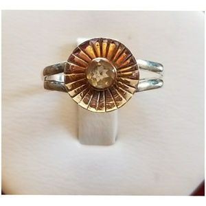 1ct Two Tone Citrine Ring Size 7
